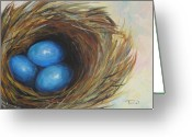 Wild-life Greeting Cards - Robins Three Eggs Greeting Card by Torrie Smiley