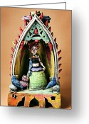 Earthenware Ceramics Greeting Cards - Robo Girl Greeting Card by Kathleen Raven