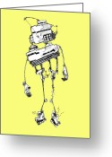 Wire Mixed Media Greeting Cards - Robot Greeting Card by Michael De Alba
