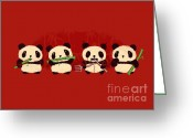 Bamboo Greeting Cards - Robot Panda Greeting Card by Budi Satria Kwan