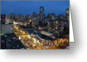Life In The City Greeting Cards - Robson Street At Night Greeting Card by Alfred Ng
