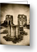 Silver Gelatin Greeting Cards - Roche Abbey Greeting Card by Simon Marsden