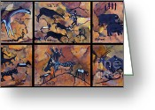Carolinestreet Greeting Cards - Rock Art Panels  Greeting Card by Caroline Street