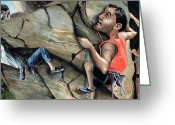 Bighorn Greeting Cards - Rock Climbers Greeting Card by Denny Bond