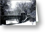 Washington D.c. Pyrography Greeting Cards - Rock Creek Parkway Washington DC Greeting Card by Fareeha Khawaja