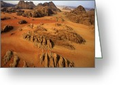 Desolate Landscapes Greeting Cards - Rock Formations And Sand Near Petra Greeting Card by Annie Griffiths