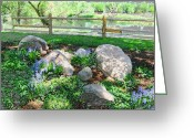 Split Rail Fence Greeting Cards - Rock Garden in Lavender Greeting Card by Gretchen Wrede