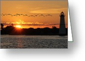 Bay Islands Greeting Cards - Rock Island Lighthouse Greeting Card by Lori Deiter
