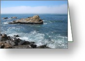 Dark Gray Blue Greeting Cards - Rock Island On California Coast Greeting Card by Connie Fox