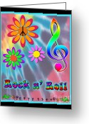 Linda D Seacord Greeting Cards - Rock Music Poster Greeting Card by Linda Seacord