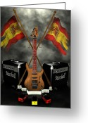 Frederico Borges Greeting Cards - Rock n Roll crest- Spain Greeting Card by Frederico Borges