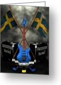 Frederico Borges Greeting Cards - Rock n Roll crest- Sweden Greeting Card by Frederico Borges