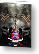 Frederico Borges Greeting Cards - Rock n Roll crest- USA Greeting Card by Frederico Borges