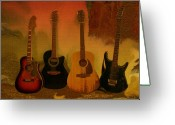 Textured Art Greeting Cards - Rock n Roll Guitars Greeting Card by Linda Sannuti