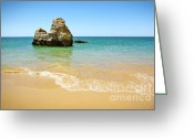 Oceanic Landscape Greeting Cards - Rock on Beach Greeting Card by Carlos Caetano
