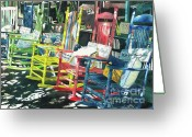 Rocking Chairs Greeting Cards - Rock On Greeting Card by LeAnne Sowa