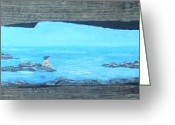 Ocean Sculpture Greeting Cards - Rock painting-Nude woman at ocean Greeting Card by Monika Dickson