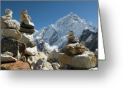 Snowcapped Greeting Cards - Rock Piles In The Himalayas Greeting Card by Shanna Baker