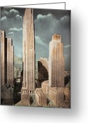 1930s Greeting Cards - Rockefeller Center Greeting Card by Granger