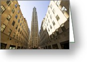 Blue Blocks Greeting Cards - Rockefeller Centre Greeting Card by Svetlana Sewell