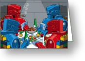 Toys Greeting Cards - Rockem Sockem poker night Greeting Card by Ron Magnes