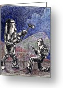 1950s Movies Drawings Greeting Cards - Rocket Man and Robot Greeting Card by Mel Thompson