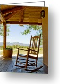 Back Porch Greeting Cards - Rocking Chair At Ranch House Porch Greeting Card by Nicolas Russell
