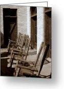 Rocking Chairs Greeting Cards - Rocking to Relax Greeting Card by Karen Musick