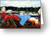Club Greeting Cards - Rockland Harbor Greeting Card by Laura Tasheiko