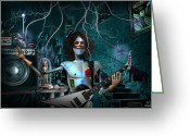 Amplifier Greeting Cards - RocknRoll Robot Greeting Card by Alessandro Della Pietra