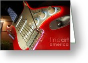 Travelpixpro Greeting Cards - RockNRoller Coaster with Aerosmith Neon Guitar Hollywood Studios Walt Disney World Prints Greeting Card by Shawn OBrien