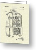 Patent Artwork Greeting Cards - Rockola Phonograph Cabinet 1940 Patent Art Greeting Card by Prior Art Design