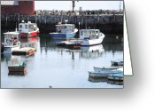 New England Digital Art Greeting Cards - Rockport Boats Greeting Card by Barry Bittinger