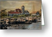 Rockport Ma Greeting Cards - Rockport Coast Greeting Card by Robin-lee Vieira