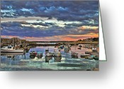 New England Sunset Greeting Cards - Rockport Dusk Greeting Card by Joann Vitali