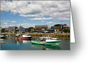 Rockport Ma Greeting Cards - Rockport Green Greeting Card by Warren Carrington