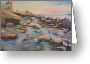 Rockport Ma Greeting Cards - Rockport Harbour Greeting Card by Leslie Alfred McGrath