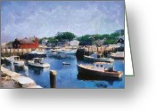 East Coast Digital Art Greeting Cards - Rockport Maine Harbor Greeting Card by Michelle Calkins