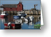Rockport Ma Greeting Cards - Rockport Marina Greeting Card by B Rossitto