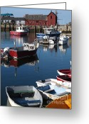 Rockport Ma Greeting Cards - Rockport Motif no1 with boats Greeting Card by B Rossitto