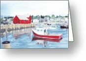 Rockport Ma Greeting Cards - Rockport reflections Greeting Card by David Poyant