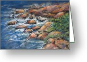 Waves Pastels Greeting Cards - Rocks Along The Shore Greeting Card by Arline Wagner