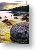 Transparent Green Greeting Cards - Rocks at Georgian Bay shore Greeting Card by Elena Elisseeva
