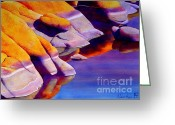 Watson Lake Greeting Cards - Rocks At Watson Lake Greeting Card by Robert Hooper