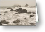 Flux Greeting Cards - Rocks Dot The Shoreline And Tidal Area Greeting Card by Phil Schermeister