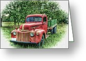 Antique Truck Greeting Cards - Rocks Old Truck Greeting Card by Pamela Baker