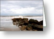 Florida Beaches Greeting Cards - Rocks on the Beach Greeting Card by Susanne Van Hulst