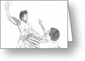 Championship Drawings Greeting Cards - Rocky and Apollo Creed Greeting Card by Kiana Gonzalez