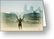 Philly Digital Art Greeting Cards - Rocky at the Top of the Steps Greeting Card by Bill Cannon