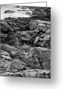Fort Williams Park Photo Greeting Cards - Rocky coastline - black and white Greeting Card by Hideaki Sakurai